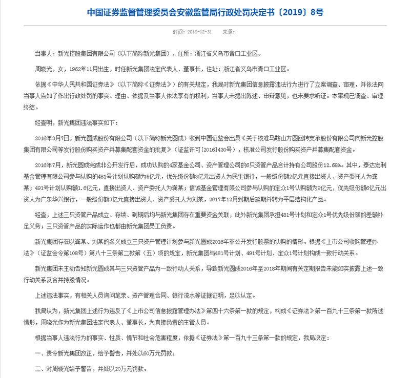 ST新光控股大股东遭罚款60万 前董事长被罚10年禁入