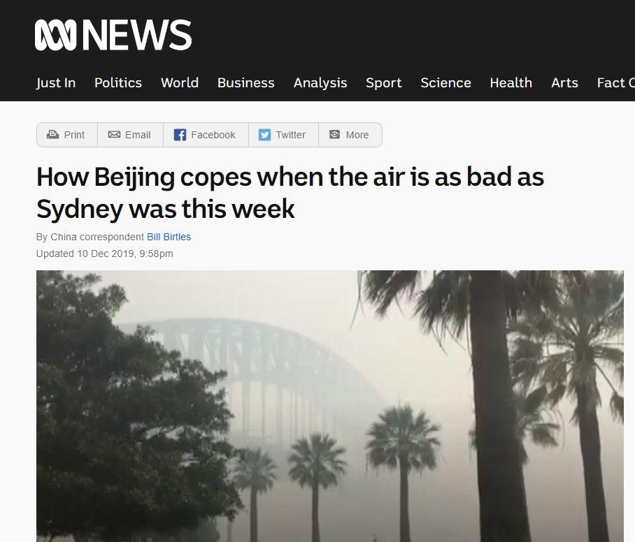 """澳山火使空气变糟 外媒竟从中国身上找""""优越感""""图片"""
