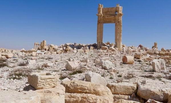 """极端组织""""伊斯兰国""""摧毁的叙利亚巴尔米拉的贝尔神庙。"""