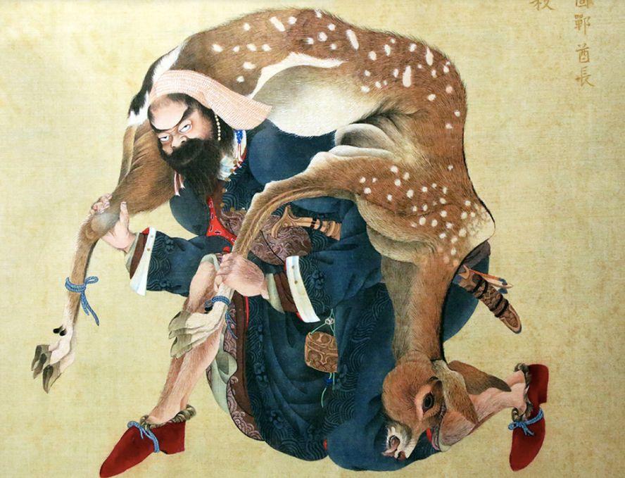 江户时代画家蠣崎波響所作《夷酋列像》的一幅,图中所绘为阿伊努人的首领。/维基百科