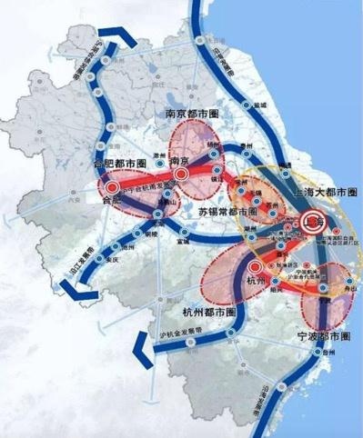 上海大都市圈含江苏浙江8市 为长