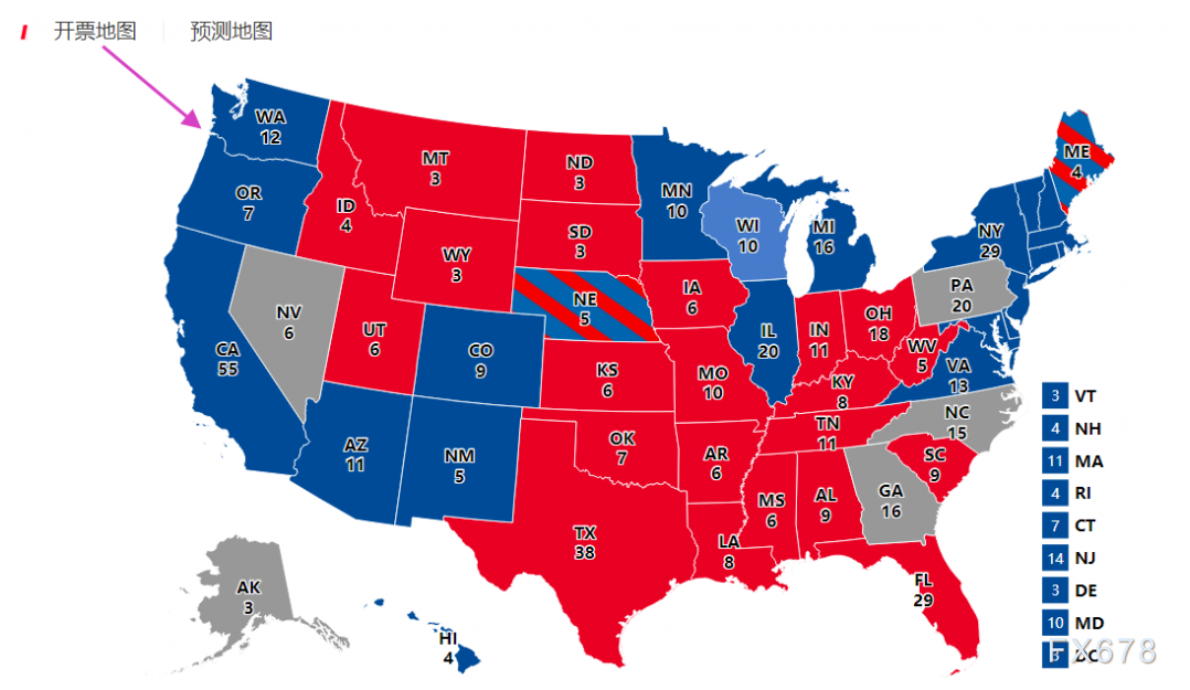"""美国大选特殊盘点:这州再陷""""重新计票""""魔咒,开票地图""""六色""""何意?大选结果会难产吗?"""