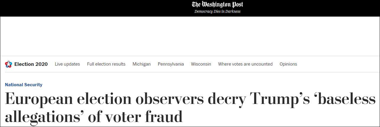 """欧安组织大选观察员:特朗普""""玷污""""了选举"""