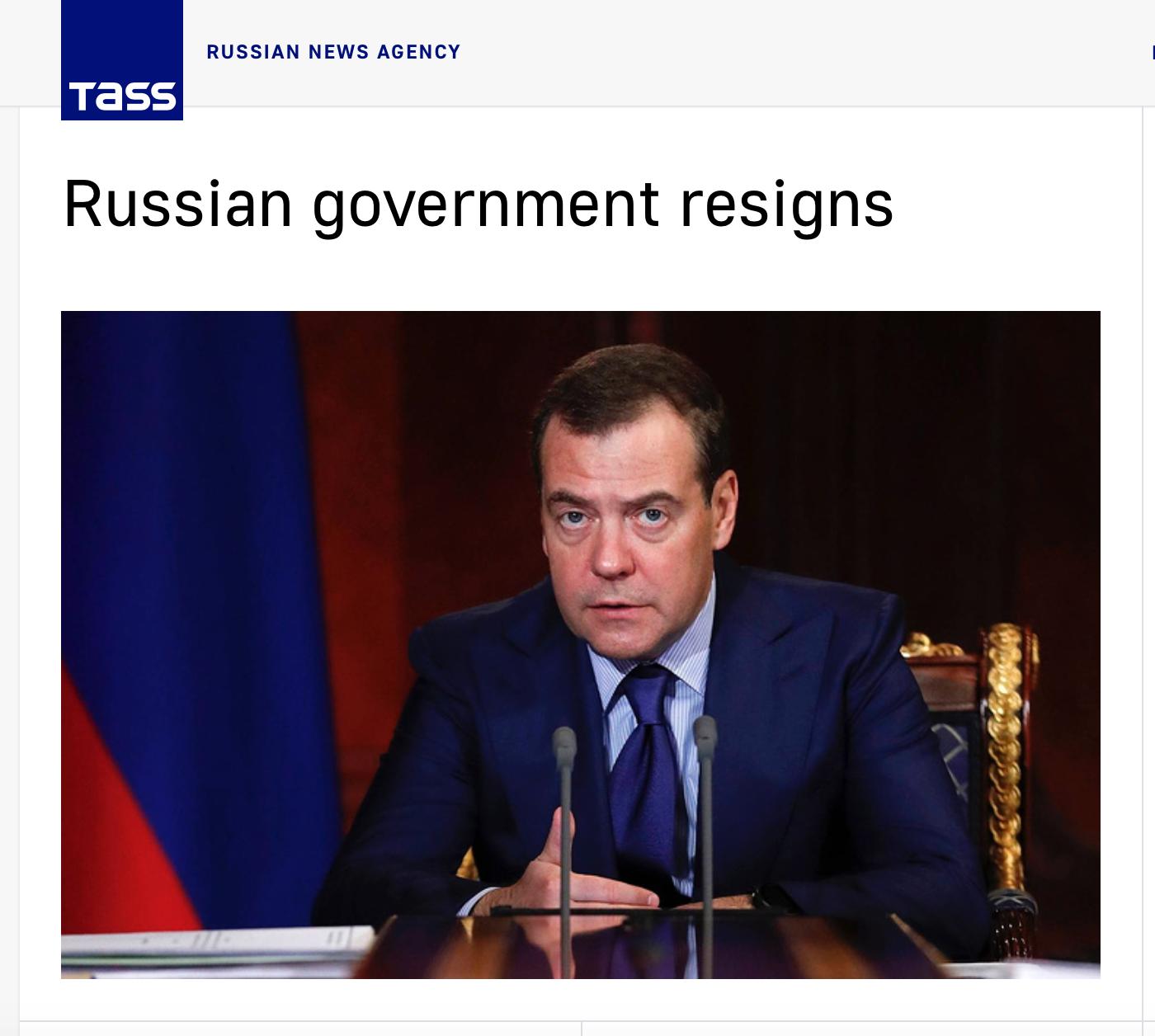 俄罗斯政府集体辞职。图片截自塔斯社
