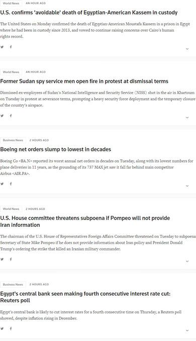 ▲在某中文网站播报这条新闻的时间段,路透社网站中东新闻版面上中没有任何与之相关的新闻。