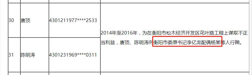 官方通报:衡阳市委原书记李亿龙妻子 收了这些人的钱图片