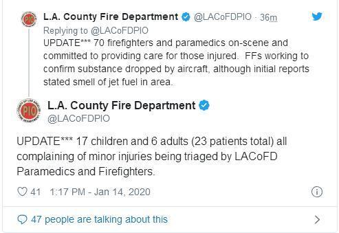 来源:洛杉矶消防部门社交媒体账户截图。