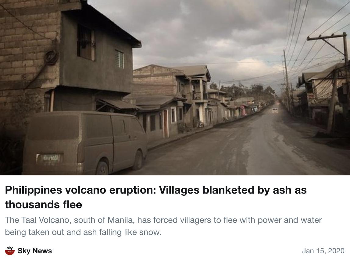 Sky News报道塔阿尔火山。推特截图
