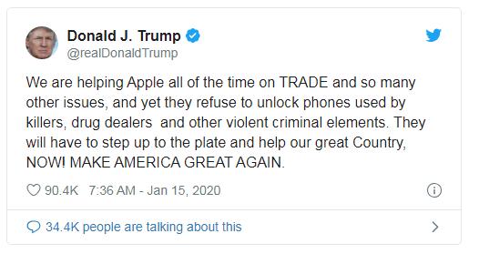 特朗普炮轰苹果,因拒绝解锁犯罪分子的iphone