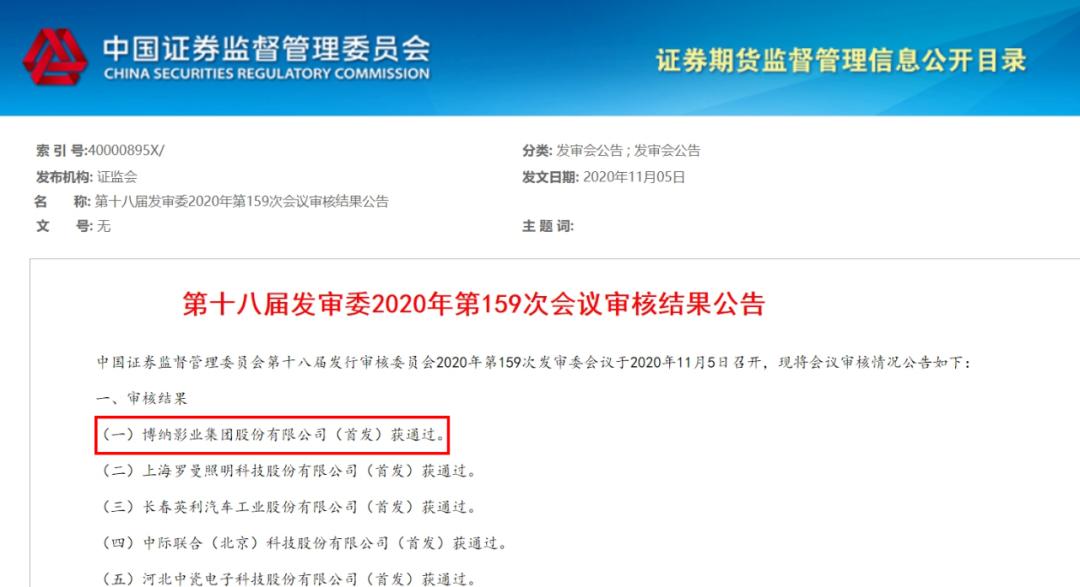 博纳影业IPO过会:阿里腾讯位列前十大股东 韩寒、张涵予等加持