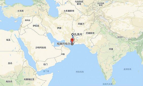红点为恰巴哈尔,上方为扎黑丹,两地相距600余公里