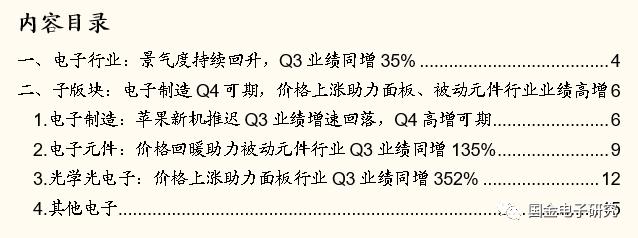【国金电子】Q3总结:电子行业景气度上行,看好苹果产