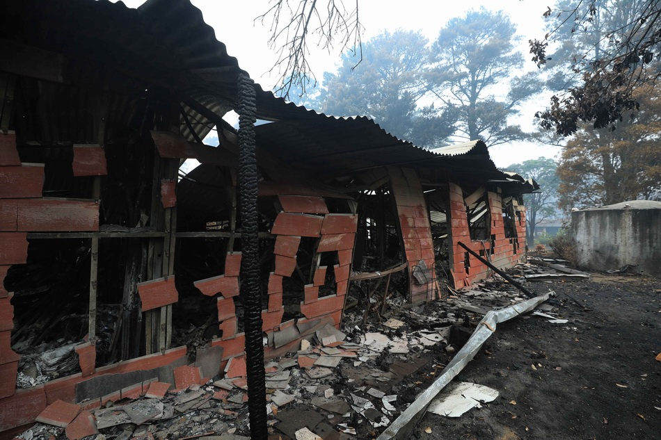 这是1月12日在距澳大利亚首都堪培拉一个多小时车程的温杰洛村拍摄的林火过后的景象。 新华社 图