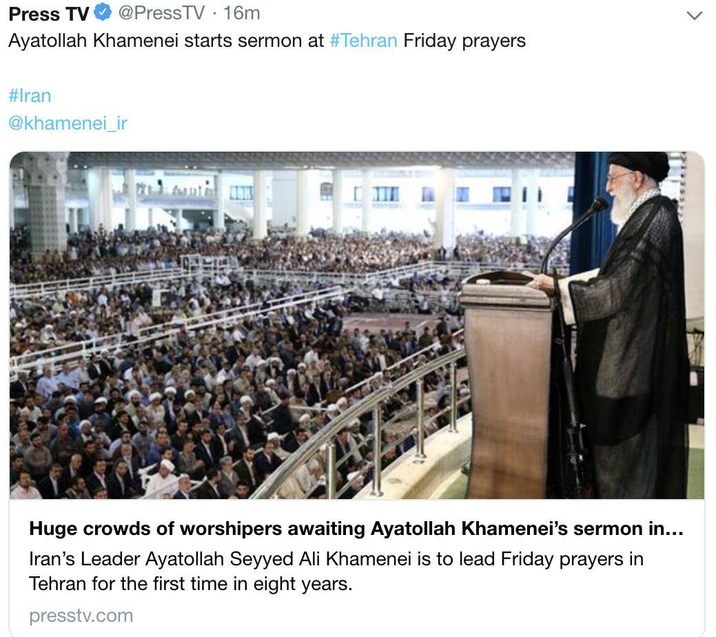 伊朗最高领袖主持集体礼拜发言:导弹袭击重创美国威严图片