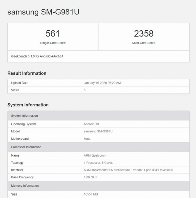 三星Galaxy S20 5G Geekbench得分泄漏 低于Galaxy Note10