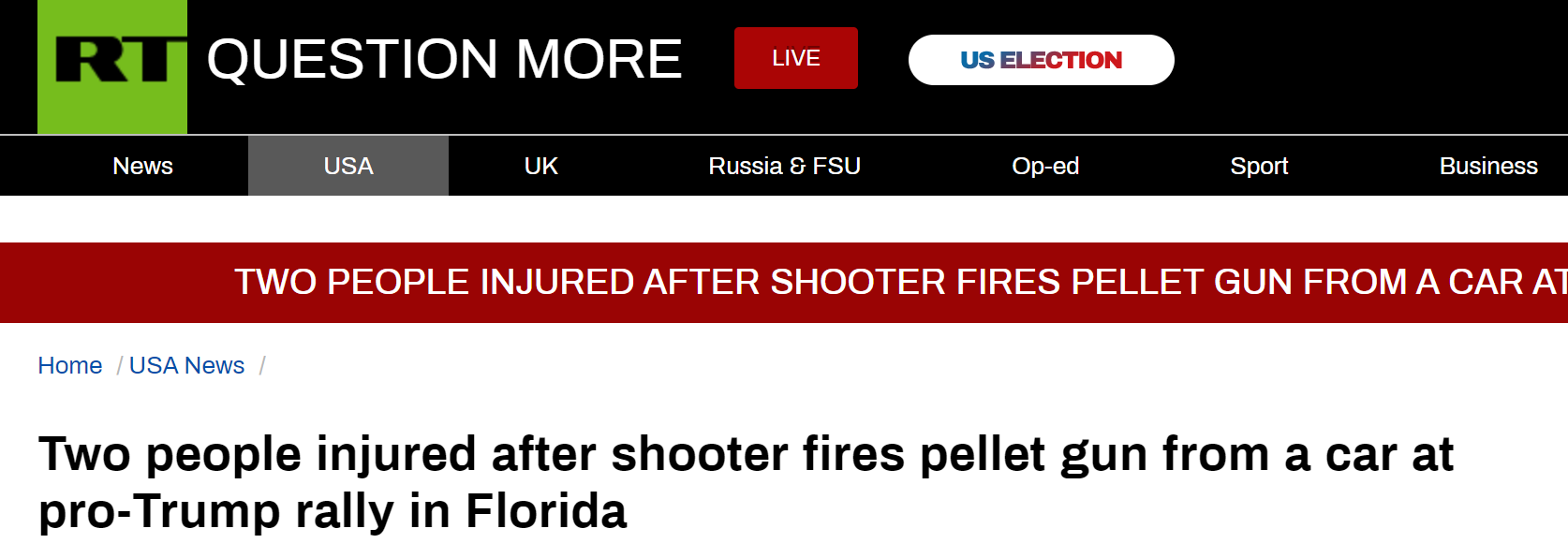 外媒:支持特朗普集会活动发生枪击案 2人受伤