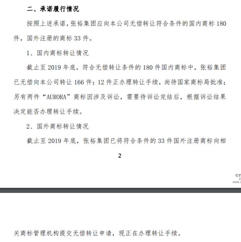"""""""张裕""""商标权属新进展:张裕集团已转让166件至张裕A"""