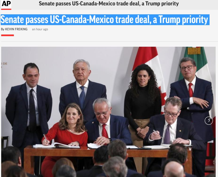 美参议院通过美墨加贸易协定 将取代北美自贸协定