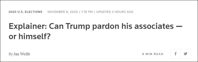 特朗普能赦免自己吗?外媒:无先例可循