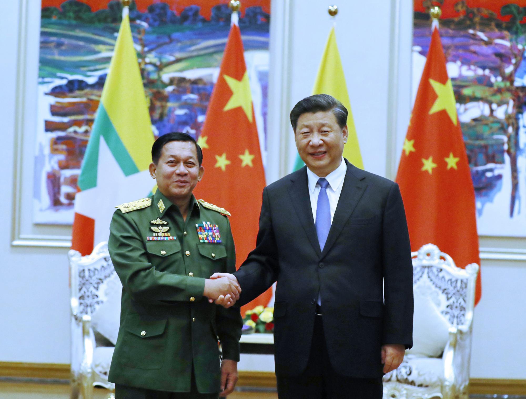 习近平会见缅甸国防军总司令图片