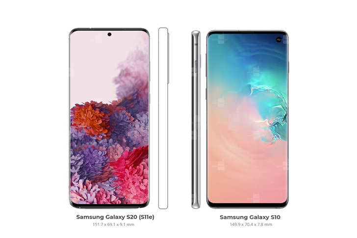 三星Galaxy S20/S20+/S20 Ultra最新正面渲染图曝光,和S10系列比较尺寸