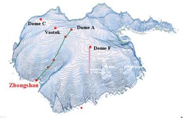 △从中山站到冰穹A(Dome A)