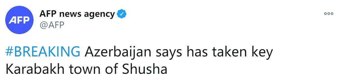 """外媒:阿塞拜疆称已占领纳卡地区重要城市""""舒沙"""""""