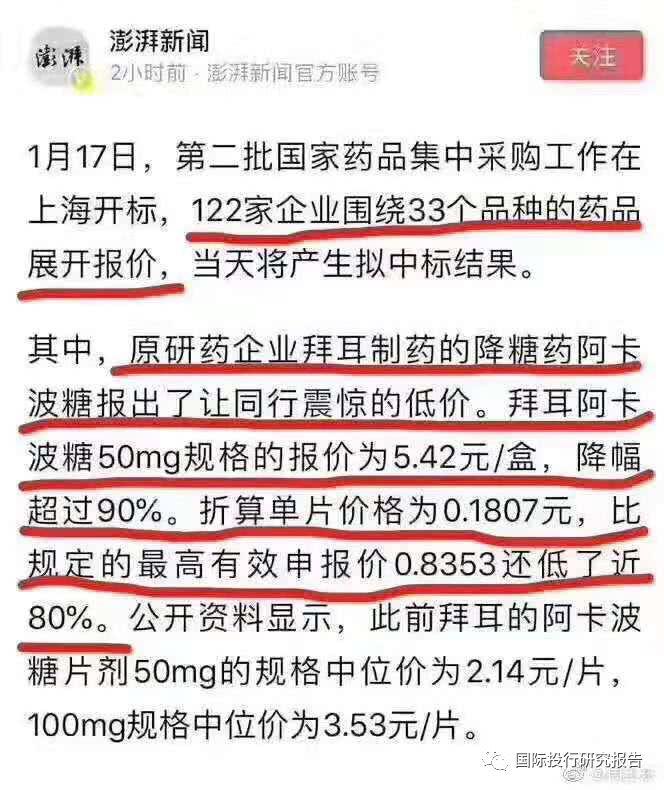 """外资割喉华东医药!阿卡波糖从3块一粒降到0.19元一粒,股价瞬间跌停!中国凭什么能够对国际药品""""灵魂砍价""""?"""