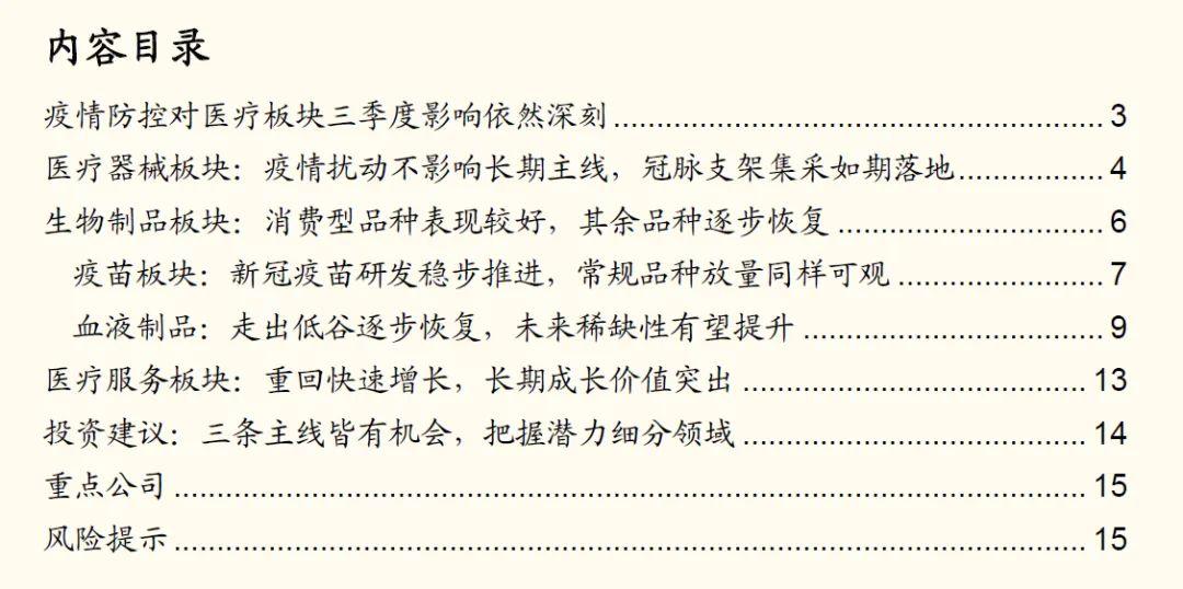 【国金研究】医疗板块三季度行业盘点:三条主线皆有机会