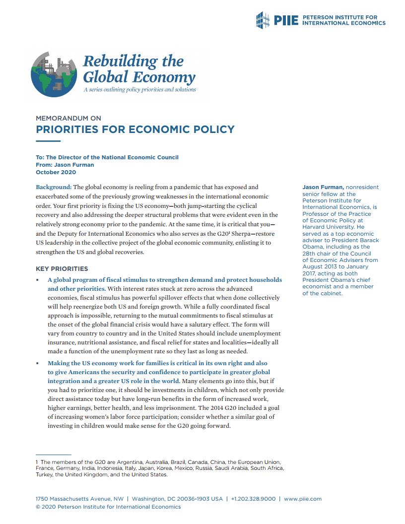 彼得森经济研究所:2021年美国重振全球经济的政策重点