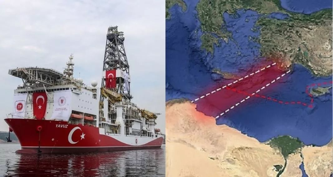 虚线内红色区域为协议规定的土耳其可开发区域