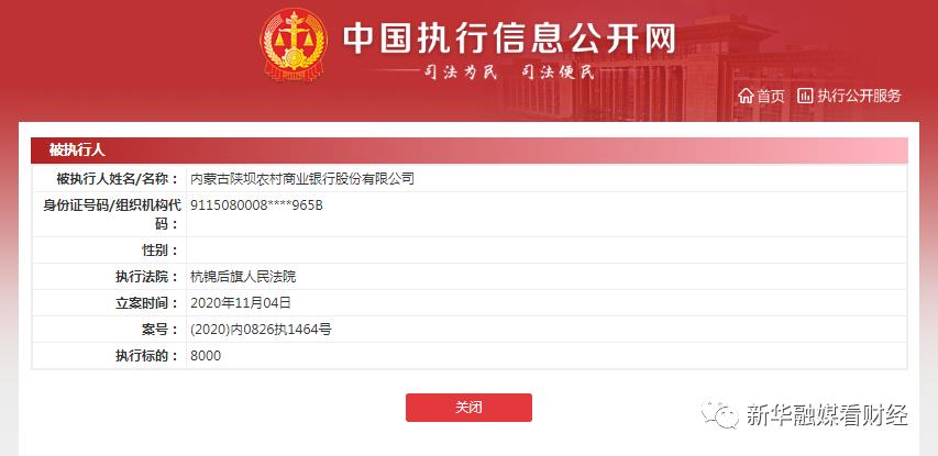监管动态|陕坝农商行列为被执行人,执行标的8000元