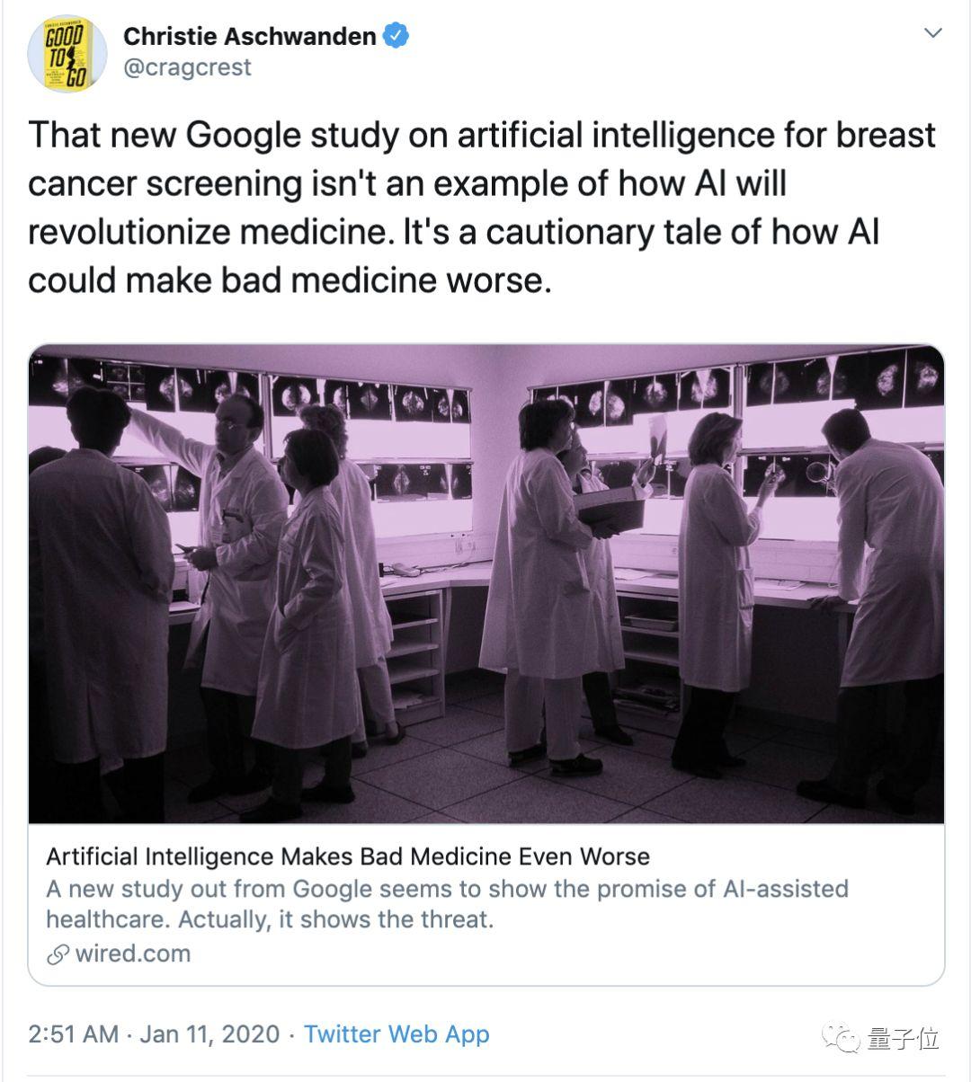 谷歌AI乳腺癌检测超过人类?美国知名记者:让糟糕的医疗更糟罢了