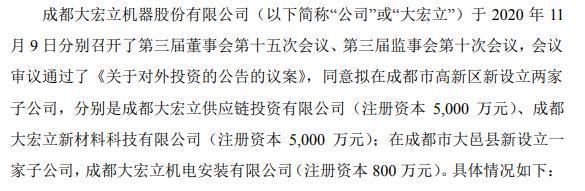 大宏立拟在成都市高新区新设立两家子公司及大邑县新设立一家子公司