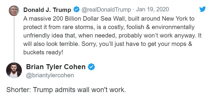 网友回复:特朗普承认造墙不管用了(来源:推特)
