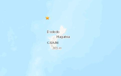 关岛附近海域发生5.1级地震 震源深度157.2千米