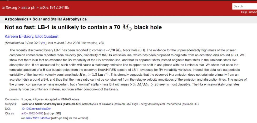 图为贾里姆·埃尔·巴德里提交在arXiv预印本文献库中的论文信息。图片来源:arXiv预印本文献库官网截图
