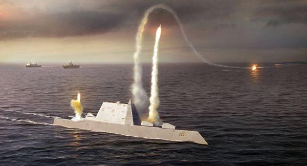 资料图片:美海军朱姆沃尔特级隐身驱逐舰发射导弹作战想象图。(美海军官网)