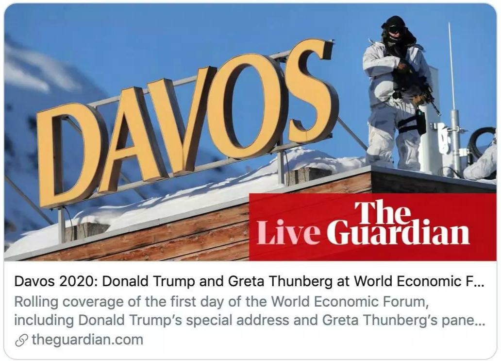 特朗普前往瑞士参加2020年达沃斯经济论坛。《卫报》报道截图
