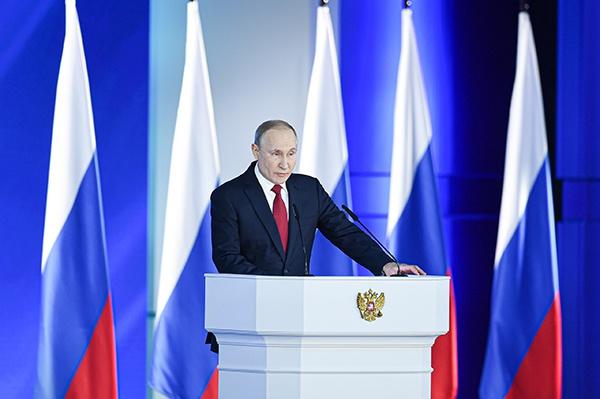 1月15日,在俄罗斯首都莫斯科,俄总统普京向议会上下两院发表国情咨文。 新华社 图