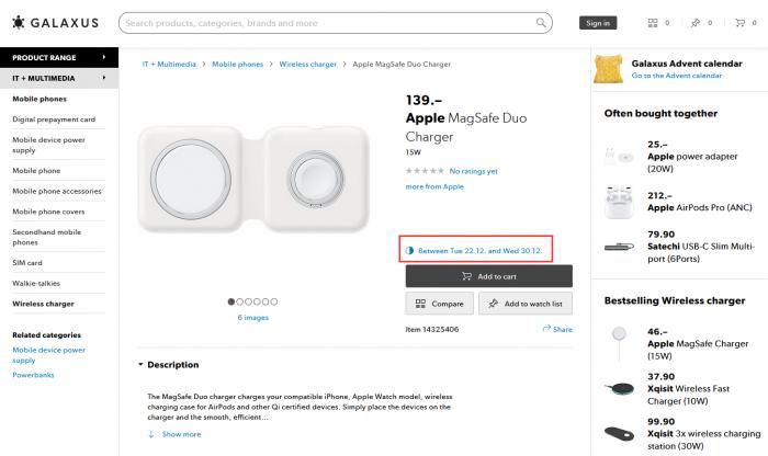 [图]MagSafe双项充电器最早有望在12月22日发货