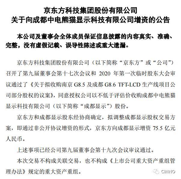 增资75.5亿!京东方加码成都中电熊猫8.6代线占股35.05% 获实际控制权