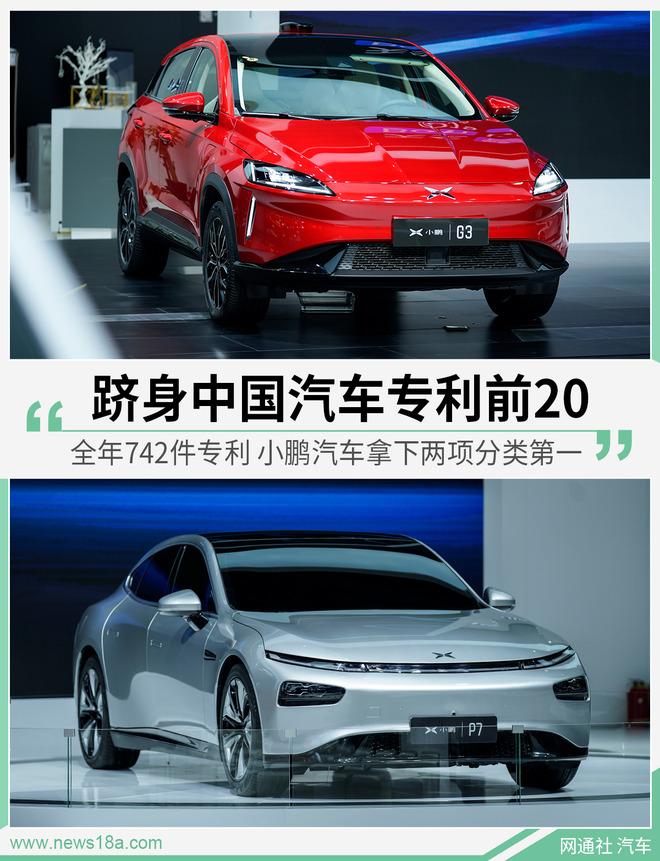 全年742件专利 小鹏跻身中国汽车专利公开量前20