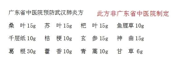 广东中医院辟谣网传预防武汉肺炎药方:非医院制定图片