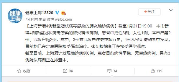 上海新增4例新型冠状病毒感染的肺炎确诊病例图片