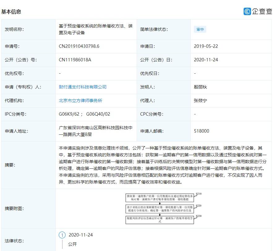 """腾讯财付通申请 """"账单催收方法、装置及电子设备""""专利"""