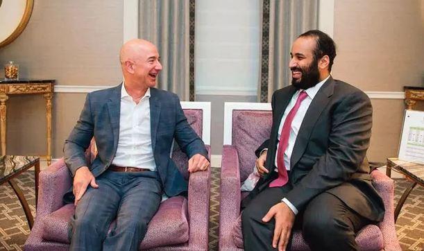 2018年3月,贝佐斯与萨勒曼在美国会面 图源:沙特新闻社