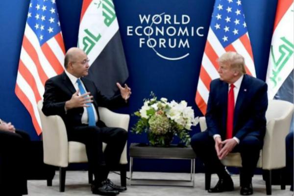 伊拉克总统巴尔哈姆·萨利赫与美国总统特朗普会面(图:路透社)