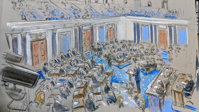 美参议院辩论现场素描图(图:CNN)