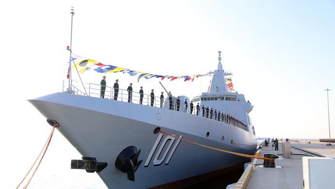 """首艘万吨大驱南昌舰入列 官宣为何叫""""归建""""(图)图片"""